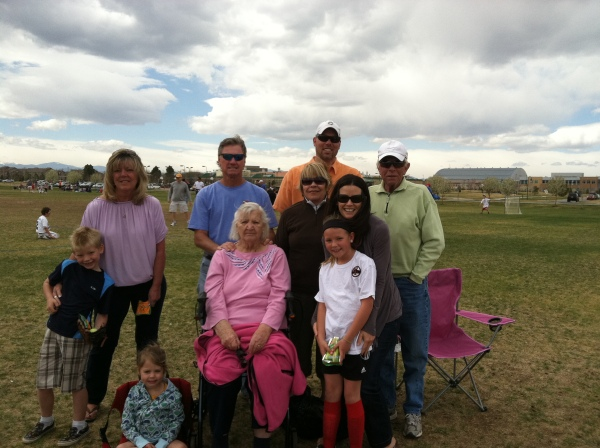 The soccer game entourage including Big (great) Grandma Carlin.