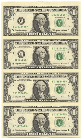 four dollar bills